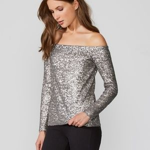 Bailey 44 Off the Shoulder Title Roll Sequin Top